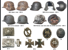 World War II helmets, buckles and badges for sale!