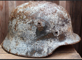 Winter camo German helmet M40 / from Novgorod
