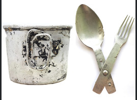 Cup for canteen + Fork-spoon / from Stalingrad