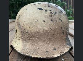Winter camo German helmet M40 / from Leningrad
