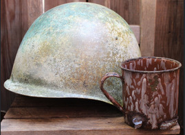 Winter camo Soviet helmet SSh39 and mug / from Karelia