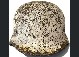 Winter camo German helmet M40 / from Stalingrad