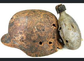 German helmet M40 and flask / from Stalingrad