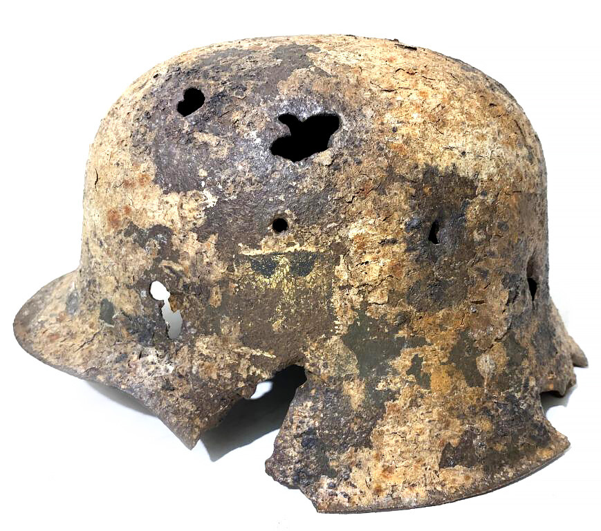 Restored German helmet M42 and canister