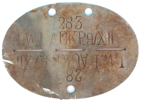 Dogtag LW.BAUKP.9./XII / from Stalingrad
