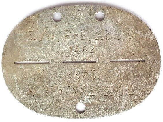 Dogtag 3./N.Ers.Abt.9 / from Stalingrad