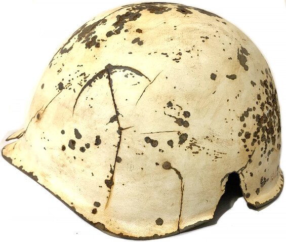 Restored Winter camo Soviet helmet SSh40