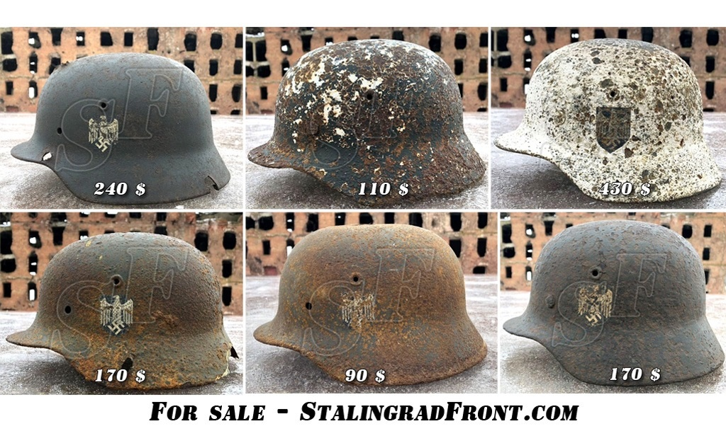 Winter camo helmet with decal (RARE!!!) and another 3 Reich helmets