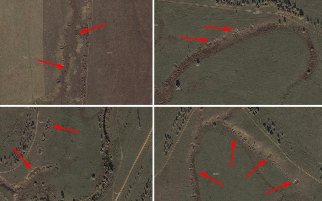 Images of trenches and dugouts surrounding the village of Rossoshka. The arrows point out the areas that are visible to this day.