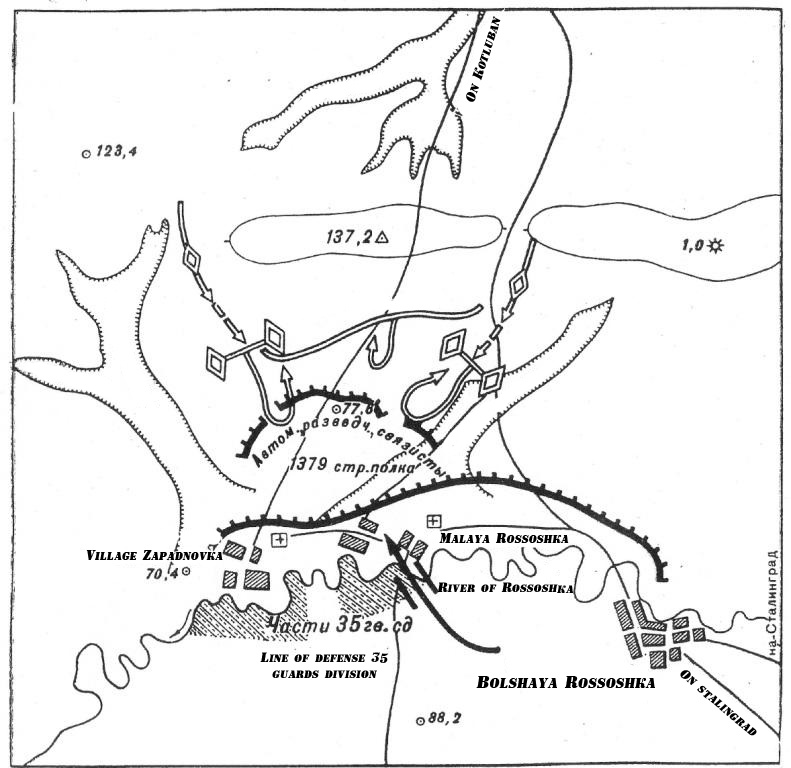 Map of fighting of 33 soldiers against German tanks, August 24, 1942