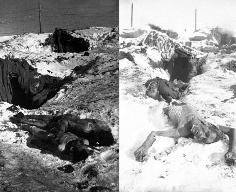 The Red Army soldiers died of starvation and very cold temperatures. The prison camp was in the village of Big Rossoshka near Stalingrad. The photograph was taken during a survey of the camp by the Soviet military after frustration of the German troops