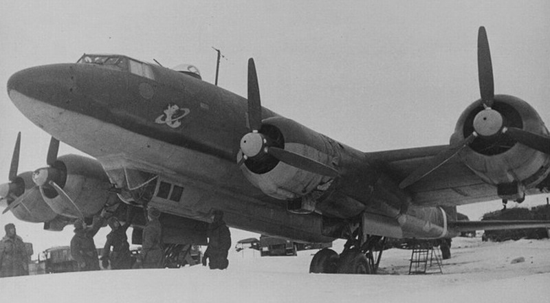 "German long-range reconnaissance bomber FW 200 ""Condor"" (1 Gruppe Kampfgeschwader 40), captured by Soviet troops at the Pitomnik airfield in January 1943"