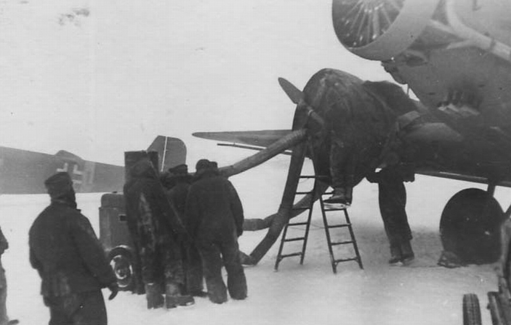 Warming up engines of Ju-52 with the help of an air heater at Pitomnik airfield. January 1943
