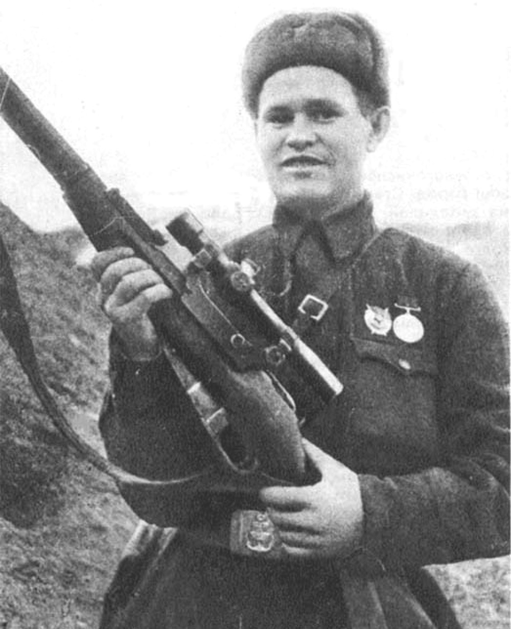 V. G. Zaitsev with his sniper rifle