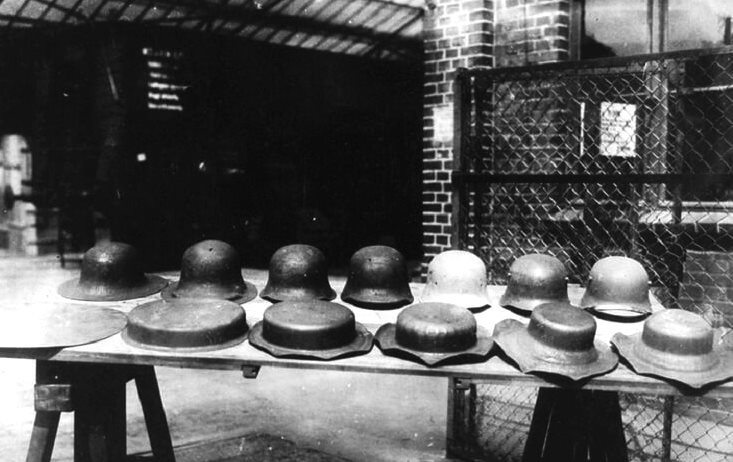 Stages of German helmet M-16 production