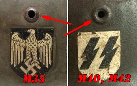 M35 helmet's difference from M40 and M42