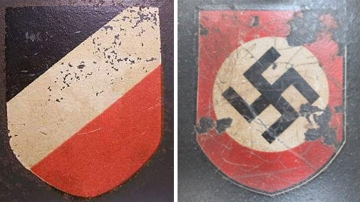 Decal versions on the right side of a helmet - German tricolor and a party shield of Deutsches Reich