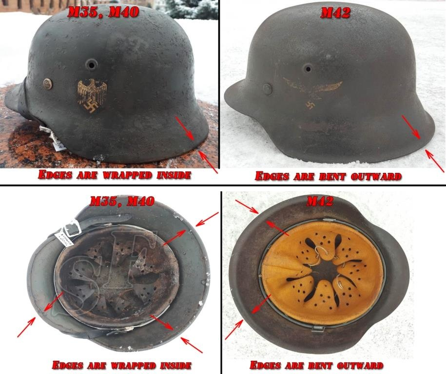 M42 helmet's difference from M35 and M40