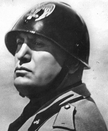 An Italian dictator Benito Mussolini in a black dress helmet M33 with an empire eagle
