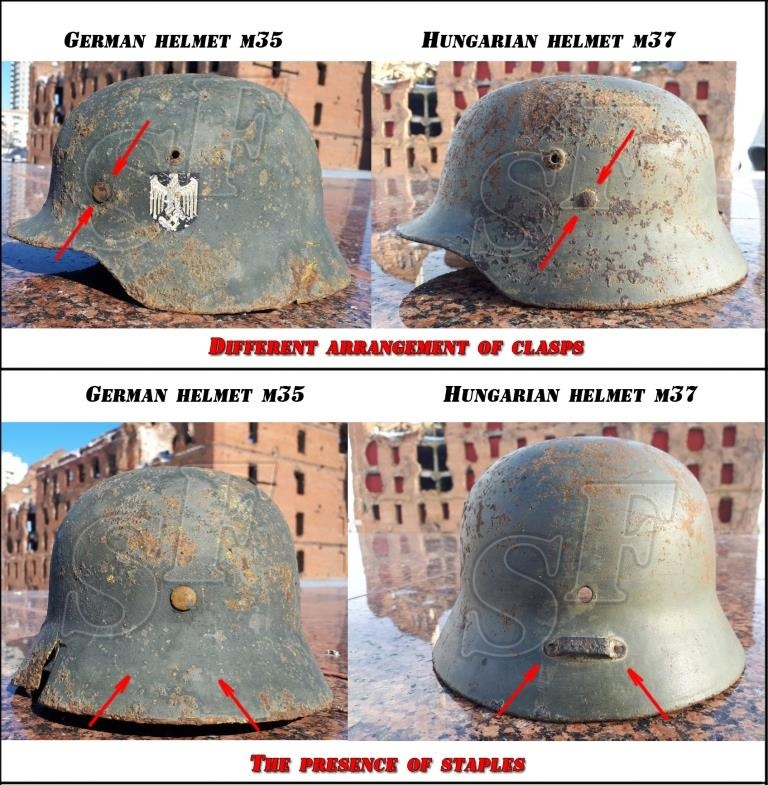 How to easily distinguish a German helmet from the Hungarian one