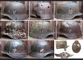 Waffens SS helmet and Wehrmacht helmets for sale