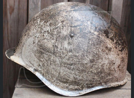 Winter camo Soviet helmet SSh39 / from Karelia