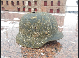 "German steel helmet M35 from village ""Novaya Nadegda"" (eng - ""New Hope"")"