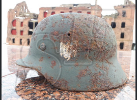 German helmet M40 from village of Ezhovka