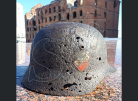 German steel helmet M35 from Kotelnikovo (Stalingrad region)