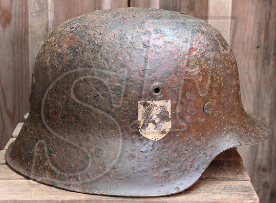 German helmet M42 / Waffen SS / from Karelia