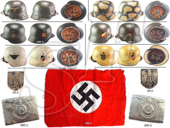 WW2 German helmet (historical reenactment), flag of NSDAP, Wehrmacht decal from pith helmet and buck